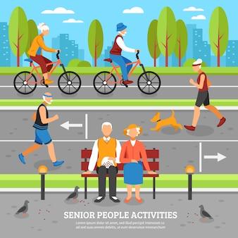 Fundo de atividades de pessoas velhas