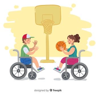 Fundo de atleta com deficiência de mão desenhada