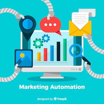 Fundo de automação de marketing de tela