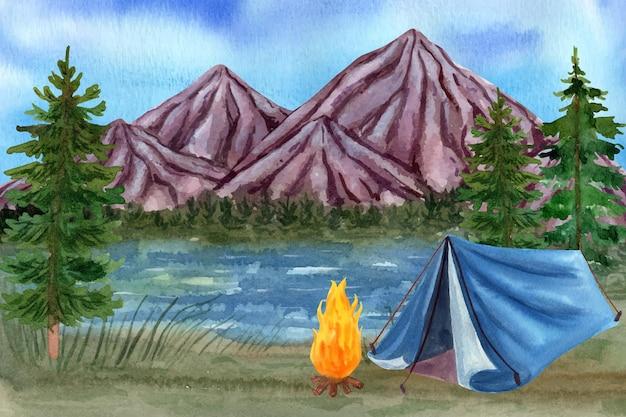 Fundo de aventura em aquarela
