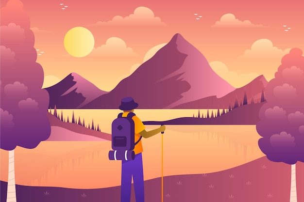 Fundo de aventura em gradiente colorido