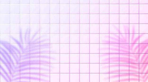 Fundo de azulejos de cerâmica rosa e violeta com sobreposição de sombra de folhas tropicais. belo cenário de luz pastel horizontal com copyspace.