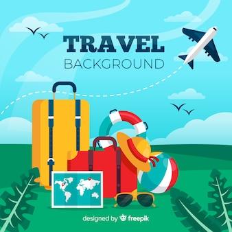 Fundo de bagagem de viagem
