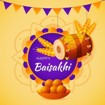 Fundo de baisakhi feliz design plano com tambor