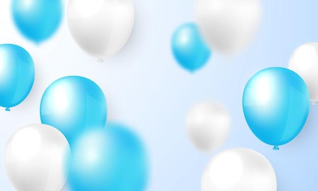 Fundo de balão azul e branco para a celebração de vários festivais