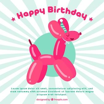 Fundo de balão de aniversário com forma de cachorro