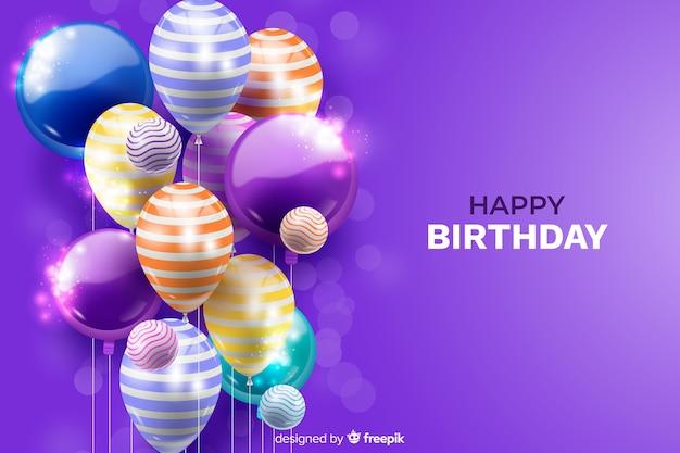 Fundo de balão de aniversário realista