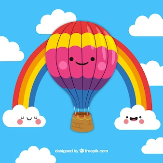 Fundo de balão de ar quente bonito com céu desenhado na mão estilo