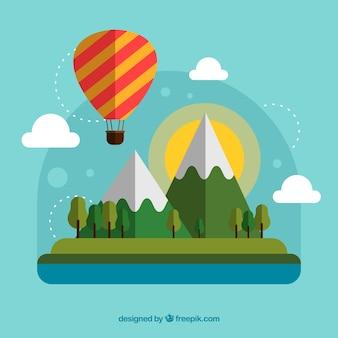 Fundo de balão de ar quente com paisagem