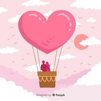 Fundo de balão de ar quente de coração