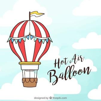 Fundo de balão de ar quente no céu