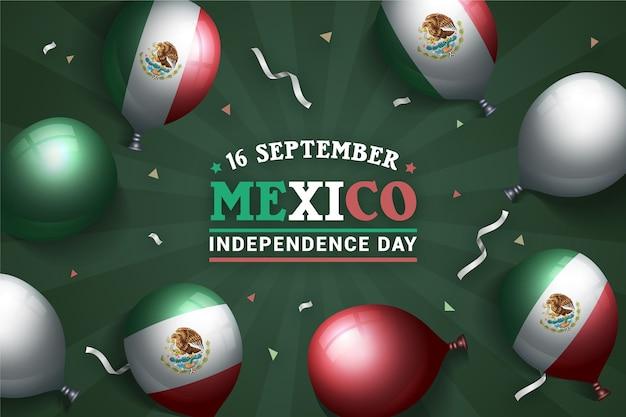 Fundo de balão do dia da independência do méxico Vetor grátis