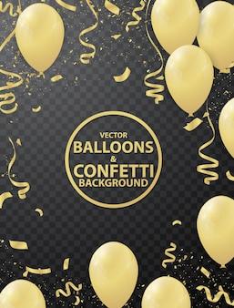 Fundo de balão e fita de ouro