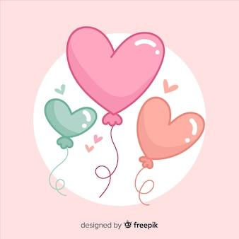 Fundo de balão em forma de coração