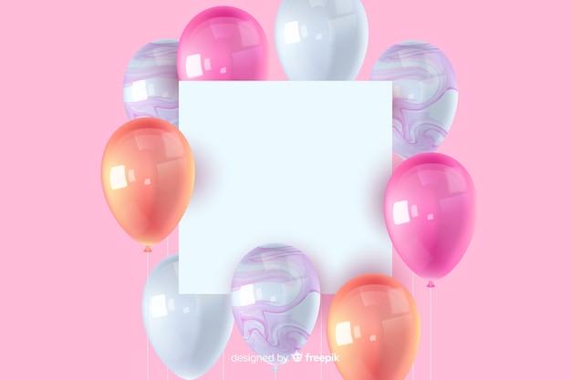 Fundo de balão tridimensional lustroso com banner em branco