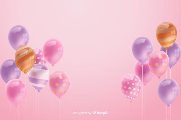Fundo de balão tridimensional realista lustroso