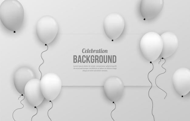 Fundo de ballon prata premium para festa de birhtday, formatura, evento de comemoração e férias