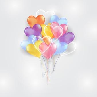 Fundo de balões coloridos com forma de coração