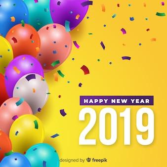 Fundo de balões coloridos de ano novo