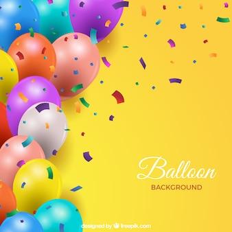 Fundo de balões coloridos em estilo realista