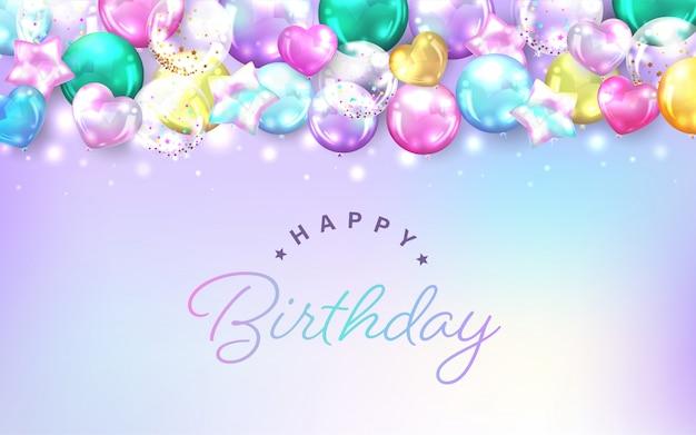 Fundo de balões coloridos horizontais para cartão de aniversário