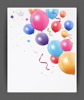 Fundo de balões coloridos para cartão de feliz aniversário