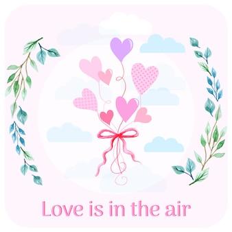 Fundo de balões de amor