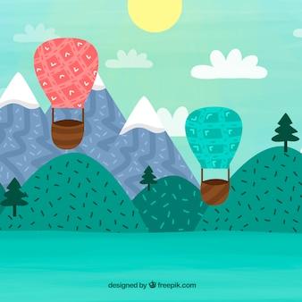 Fundo de balões de ar quente com céu desenhado na mão estilo