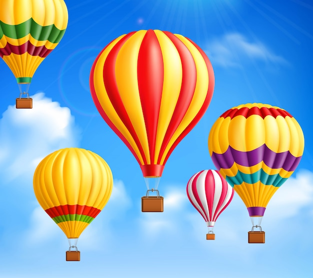 Fundo de balões de ar quente