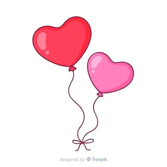 Fundo de balões de coração de mão desenhada