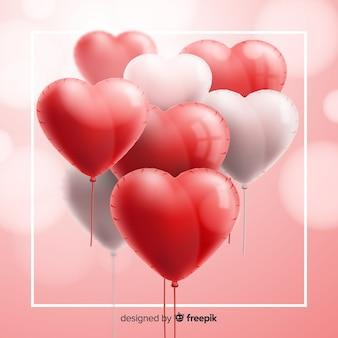 Fundo de balões de coração realista