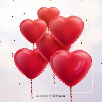 Fundo de balões de coração