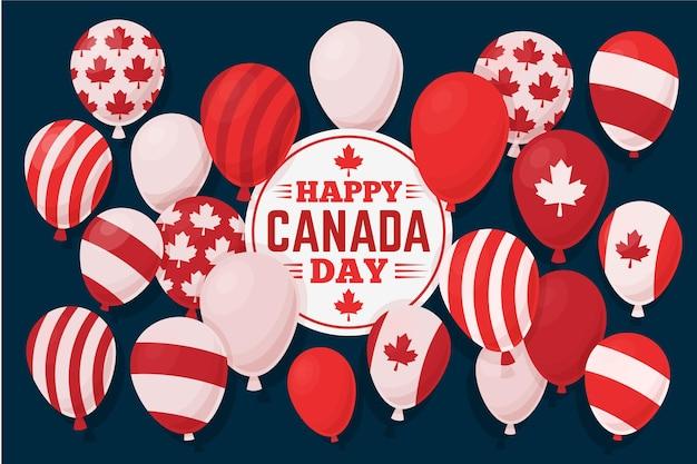 Fundo de balões de dia de design plano canadá