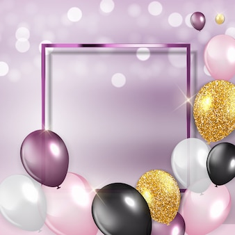 Fundo de balões de feliz aniversário brilhante com moldura