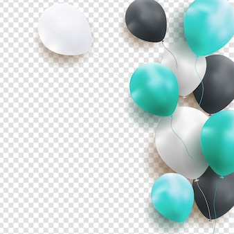 Fundo de balões de feliz aniversário brilhante