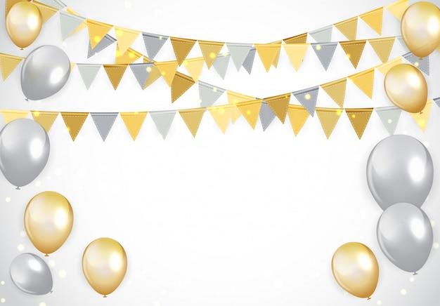 Fundo de balões de feliz aniversário de ouro e prata