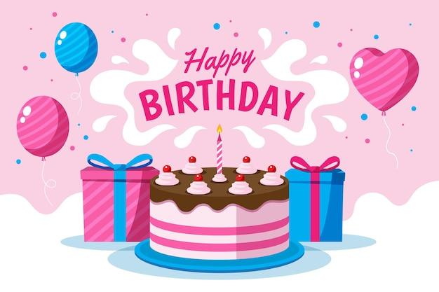 Fundo de balões de feliz aniversário