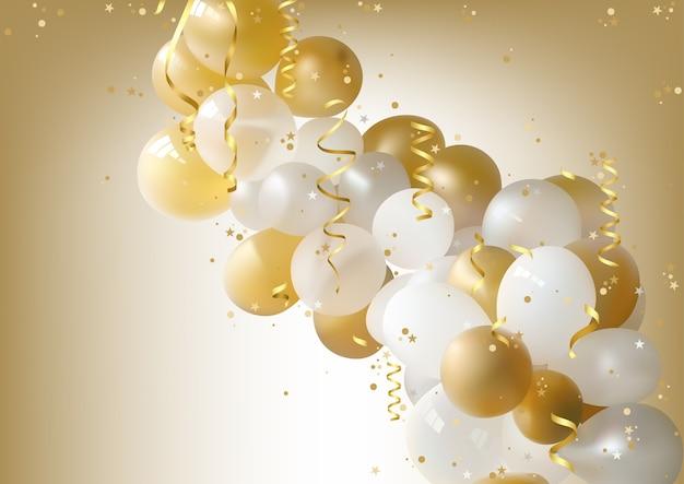 Fundo de balões de festa branca e dourada