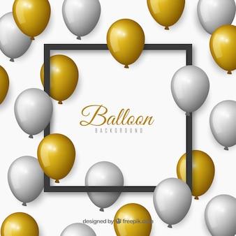 Fundo de balões de ouro e cinzento para celebrar