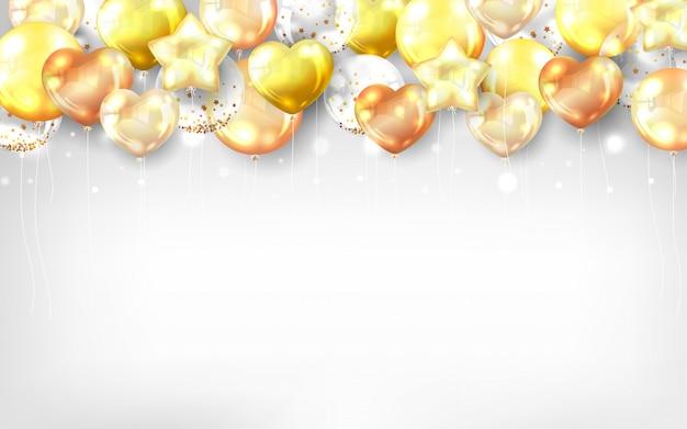 Fundo de balões de ouro para cartão de feliz aniversário