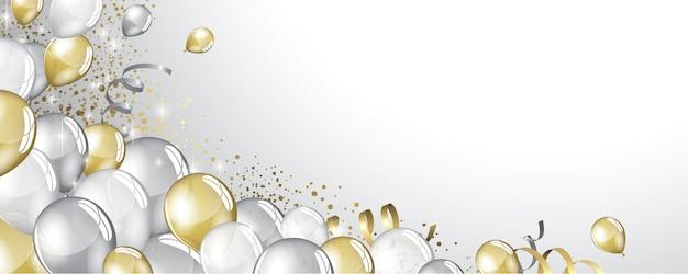 Fundo de balões de prata e ouro