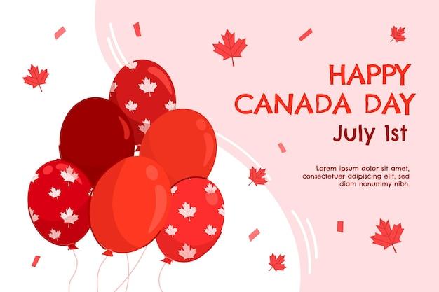 Fundo de balões desenhado à mão no dia do canadá