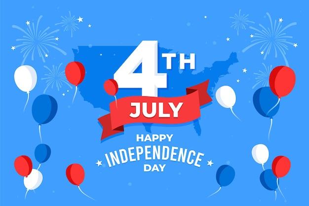 Fundo de balões do dia da independência com fogos de artifício