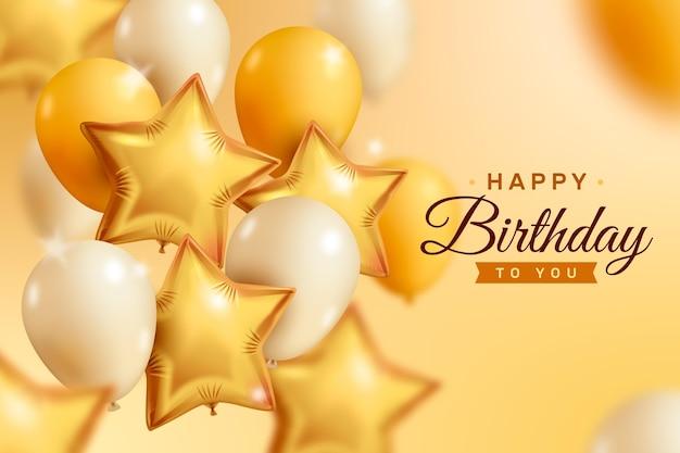 Fundo de balões dourado e branco realista feliz aniversário