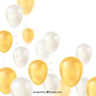 Fundo de balões dourados e brancos para celebrar