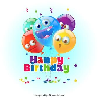 Fundo de balões engraçados de aniversários coloridos