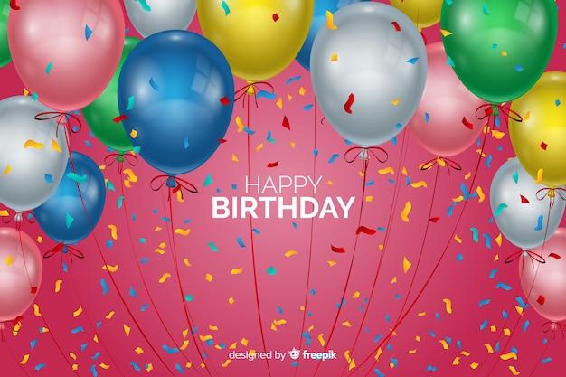 Fundo de balões feliz aniversário