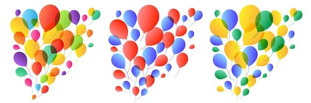 Fundo de balões. festa de aniversário. balões coloridos de férias. ilustração vetorial