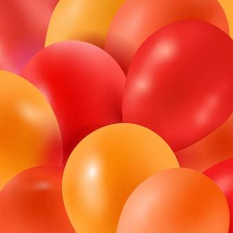 Fundo de balões laranja Vetor Premium
