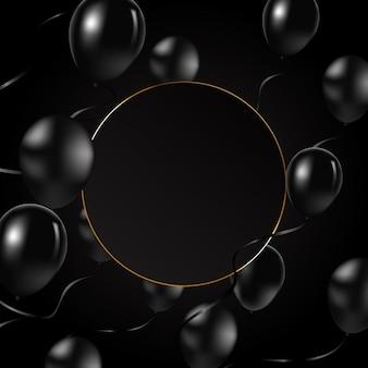 Fundo de balões pretos com moldura e balões pretos